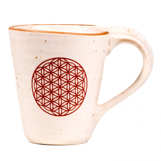 Teetasse Kaffeetasse Teebecher Kaffeebecher aus Keramik beige und rot