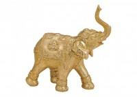 Glückselefant Reichtum in Gold aus Resin für Drinnen und Draußen