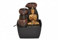 Zimmerbrunnen Buddha in Schwarz/Gold mit LED-Beleuchtung