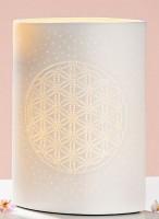 Tischlampe aus weißem Keramik mit der Blume des Lebens