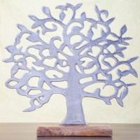 Tischdeko Lebensbaum aus Aluminium und Holzfuss aus Mango