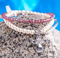 Schutzengel Armband in Lila elastische 3er Armbändchen
