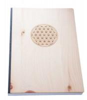 Notizbuch, Blume des Lebens, Zirbenholz, Mondhaus-Shop