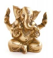 Indische Gottheit Ganesha sitzend aus Messing