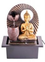 Zimmerbrunnen Buddha mit LED-Beleuchtung und Adapter für Pumpe
