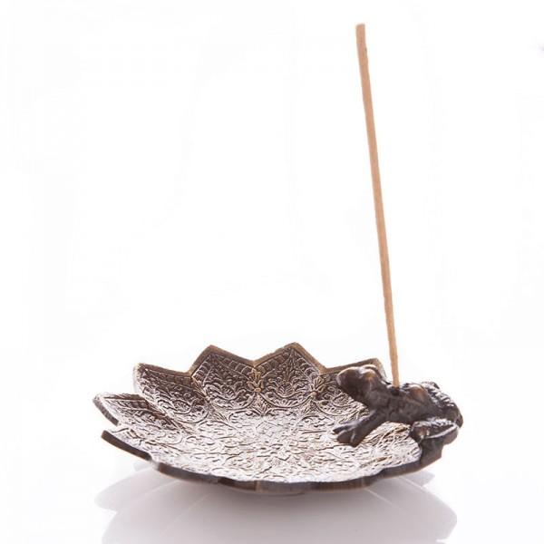 Räucherstäbchenhalter Frosch auf Lotusblatt, Messing