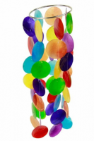 Farbiges Chakra Windspiel Capiz-Schale