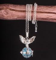 Schutzengel Collier in Silber mit verstellbarer Kette