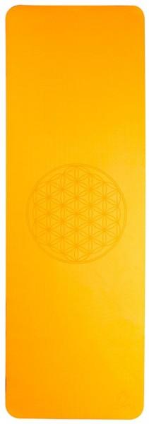 Yoga Matte Blume des Lebens Orange Grau