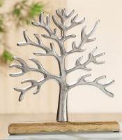 Lebensbaum aus Aluminium und Holzfuss aus Mangoholz
