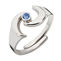 Ring aus Echtsilber und blauem Saphir, verstellbar
