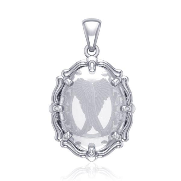 """Anhänger """"Angel Wings"""", Silber mit Bergkristallen"""