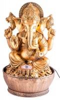 Glücksbringer Ganesha, Zimmerbrunnen mit LED-Beleuchtung und Adapter