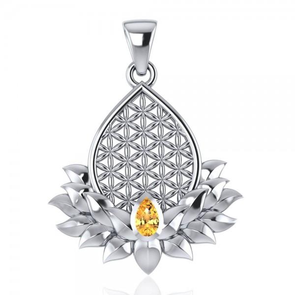 Schmckanhänger Origin mit Blume des Lebens und Lotusblüte, sowie Heilstein Citirn