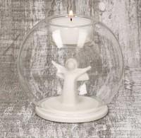 Glaswindlicht mit Engel aus Porzellan