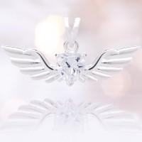 Schmuckanhänger Sterlingsilber mit weißen Glaskristall
