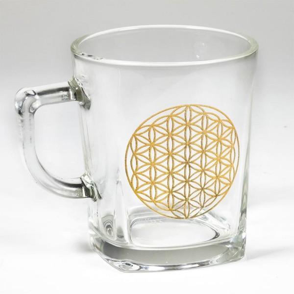 """Teeglas """"Blume des Lebens"""", Gravierung gold"""