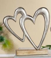 Dekofigur Liebe, 2 Herzen ineinander vereint aus Alu und Mangoholz