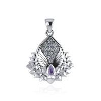 Engelflügel und Lotus Anhänger, Amethyst, facetierter Bergkristall