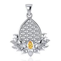 Blume des Lebens im SEIN Anhänger, Silber, Citrin
