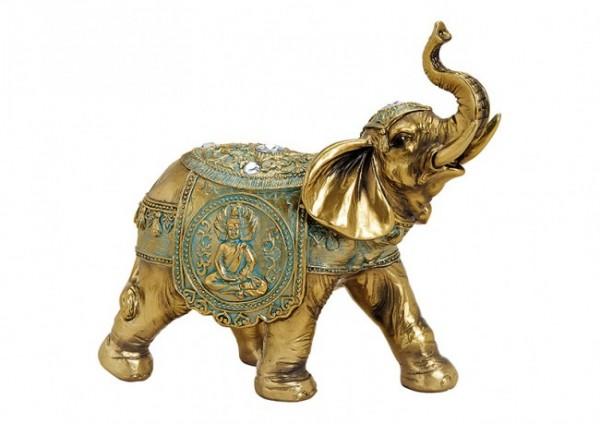 Glückselefant aus Resin in Gold und Grün