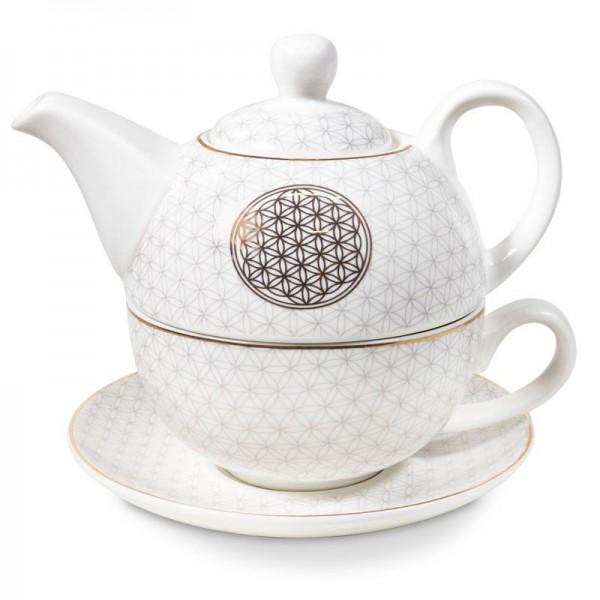 Tea for One Blume des Lebens, Teeset Porzellan weiß-gold
