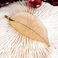 Schmuckanhänger Buddha Blatt aus Bodhi Baum Blätter, vergoldet