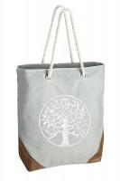 Tasche aus Kunstleder in Silbergrau mit Lebensbaum