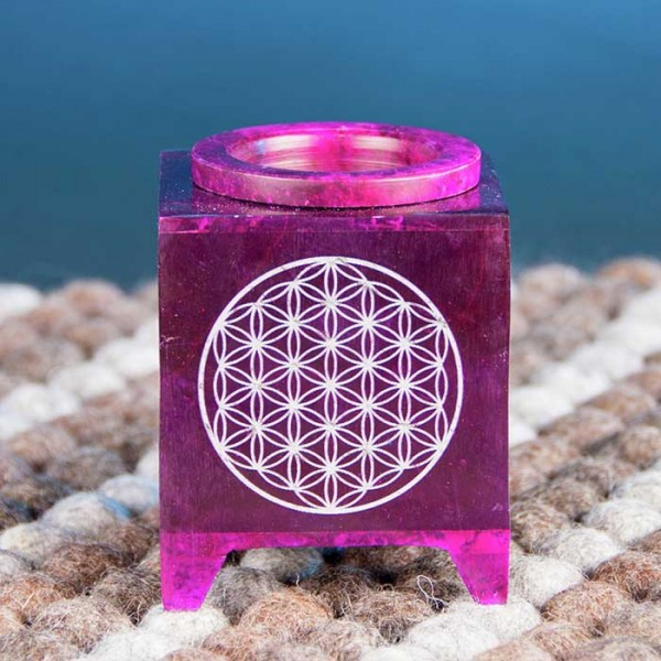 Geschmackvolle Aromalampe Blume des Lebens aus Speckstein in Violett