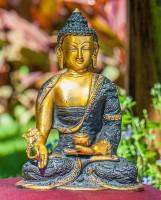 Medizin Buddha Figur aus Messing