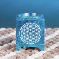 Geschmackvolle Aromalampe Blume des Lebens aus Speckstein in Blau