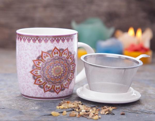 Porzellan Teetasse mit Deckel und Sieb sowie Mandala-Aufdruck