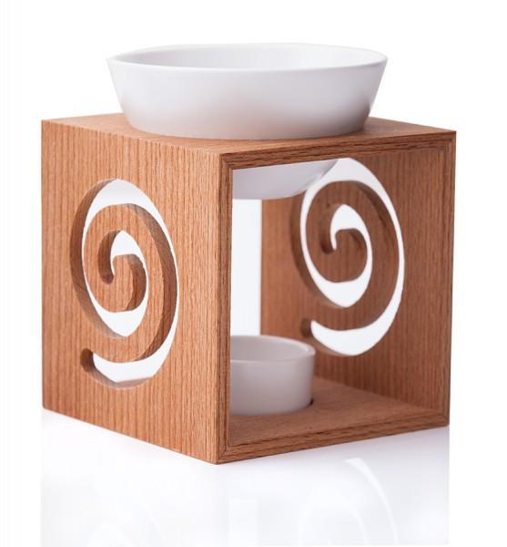 Duftlampe aus gebrannten Buchenholz mit großer Keramikschale