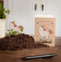 Einhorn-Grußkarte mit Wildblumensamen