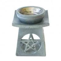 Räucherduftlampe aus grauem Speckstein mit Pentagram